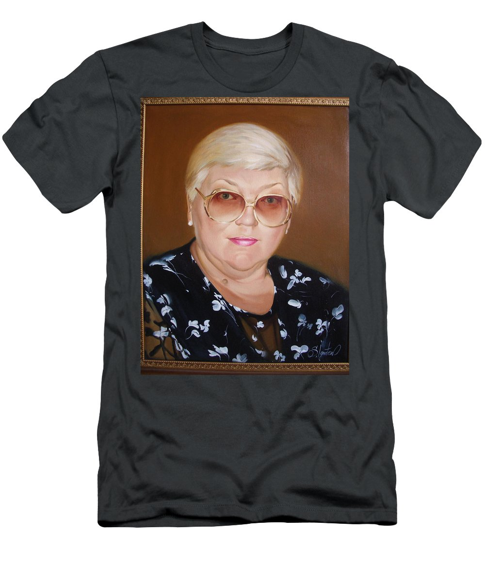 Art Men's T-Shirt (Athletic Fit) featuring the painting Woman 1 by Sergey Ignatenko
