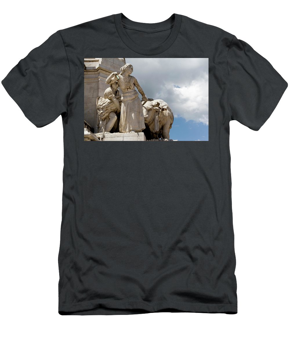 Lisbon Men's T-Shirt (Athletic Fit) featuring the photograph Woman And Bull, Marquis De Pombal Monument by Lorraine Devon Wilke