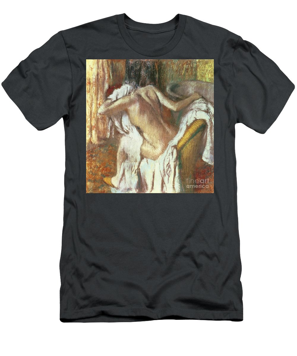 Woman Drying Herself Men's T-Shirt (Athletic Fit) featuring the pastel Woman Drying Herself by Edgar Degas