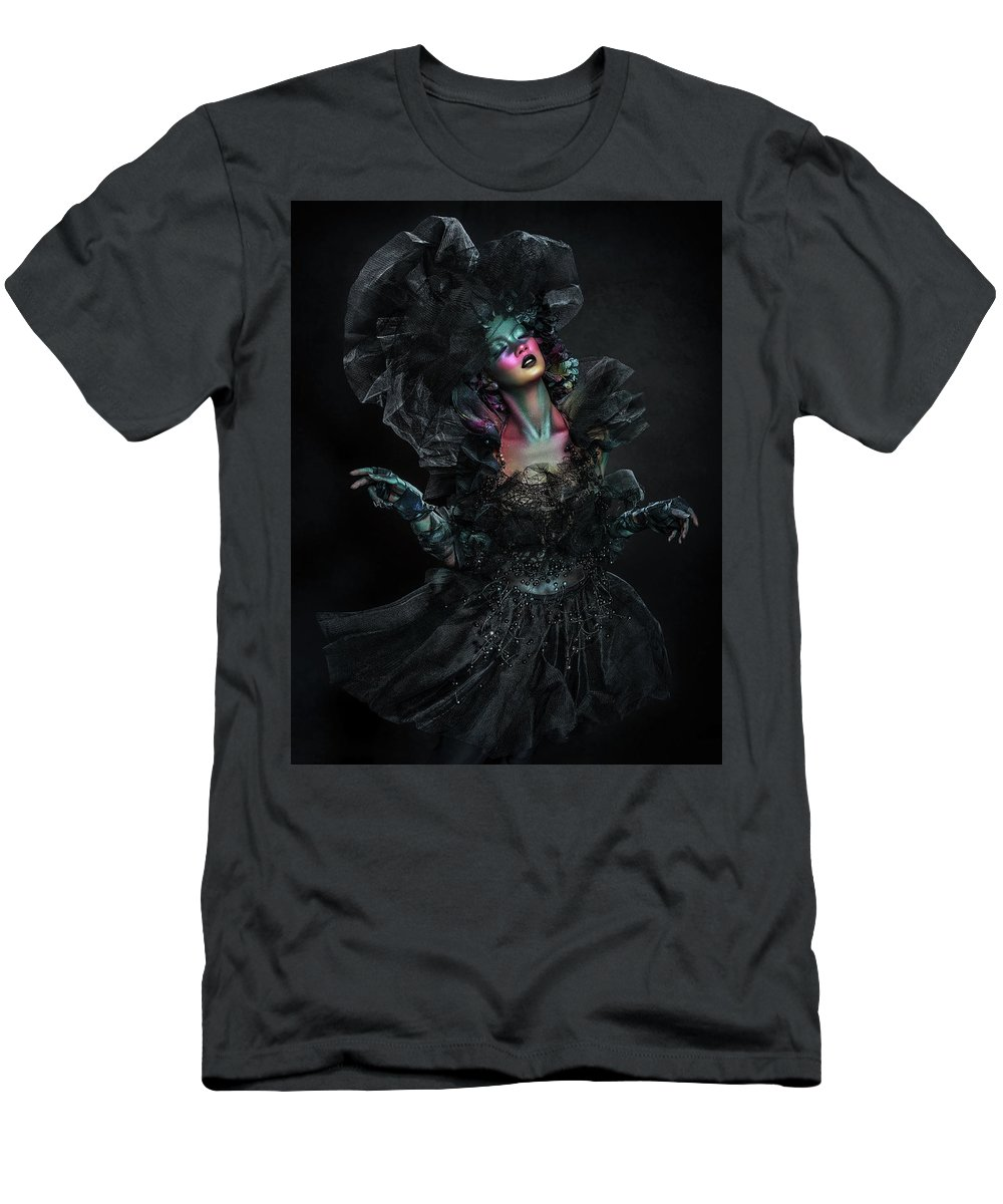 Black Background Men's T-Shirt (Athletic Fit) featuring the photograph Woman In Black Gown And Headdress In Body Paint by Erich Caparas