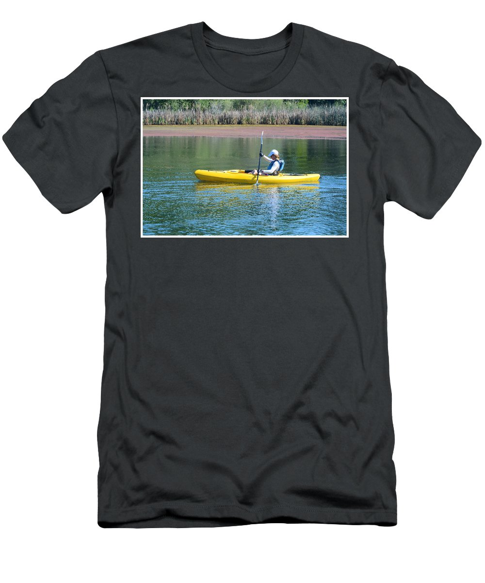 Kayak Men's T-Shirt (Athletic Fit) featuring the photograph Woman In Kayak by Josephine Buschman