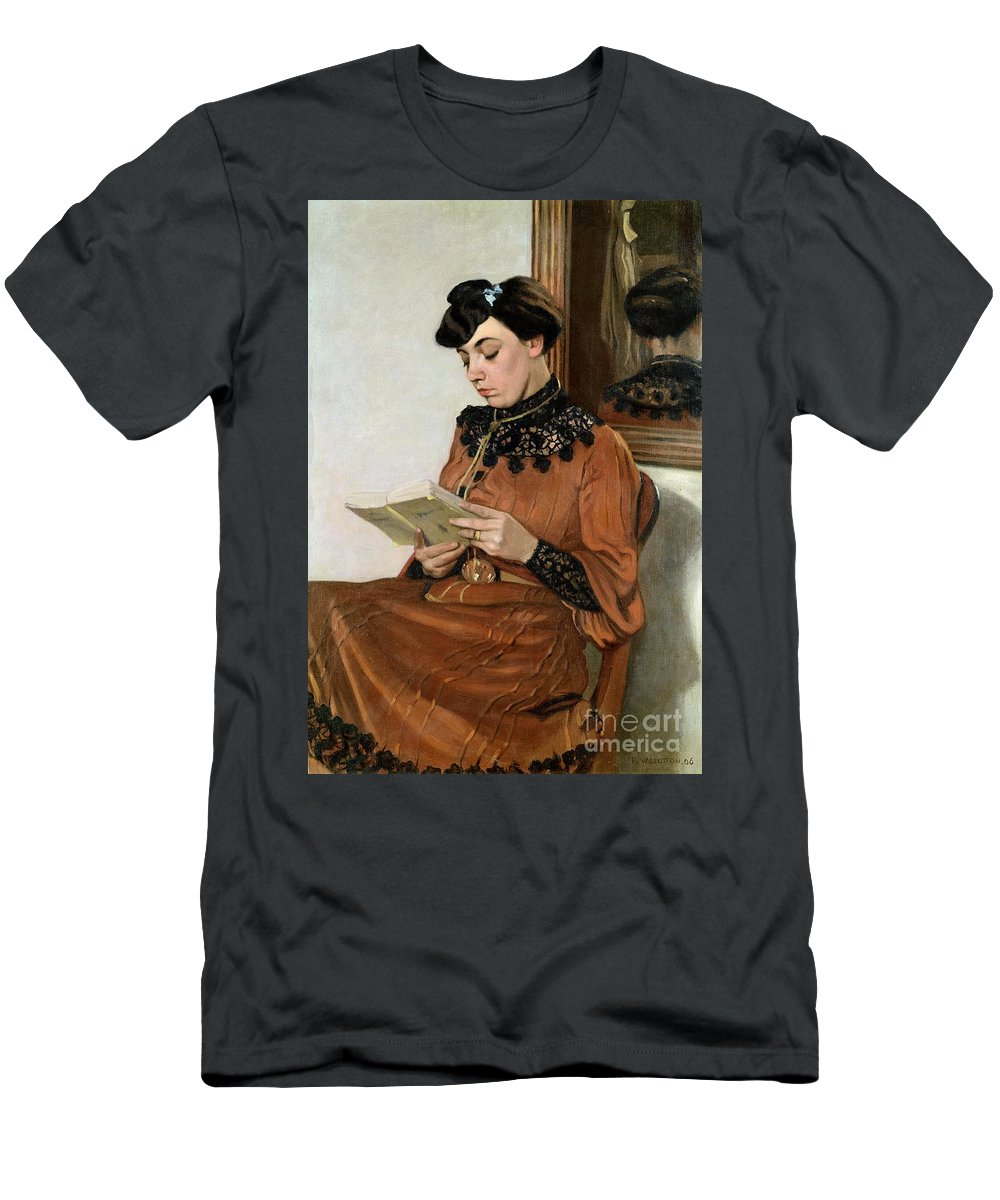Woman Men's T-Shirt (Athletic Fit) featuring the painting Woman Reading by Felix Edouard Vallotton