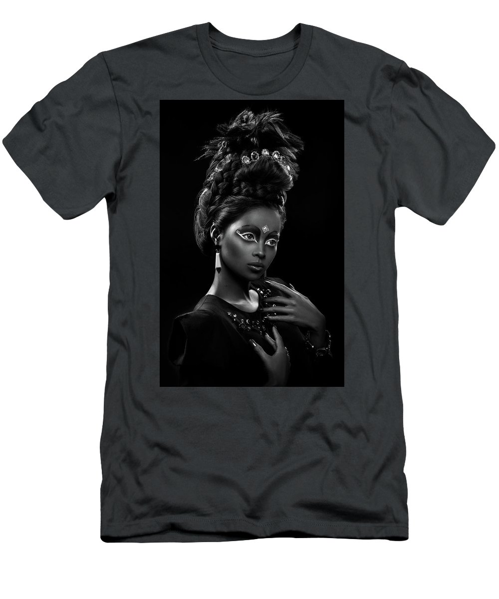 Black And White Men's T-Shirt (Athletic Fit) featuring the photograph Woman With Beehive Hairstyle And Jewelry Headdress Owner by Erich Caparas