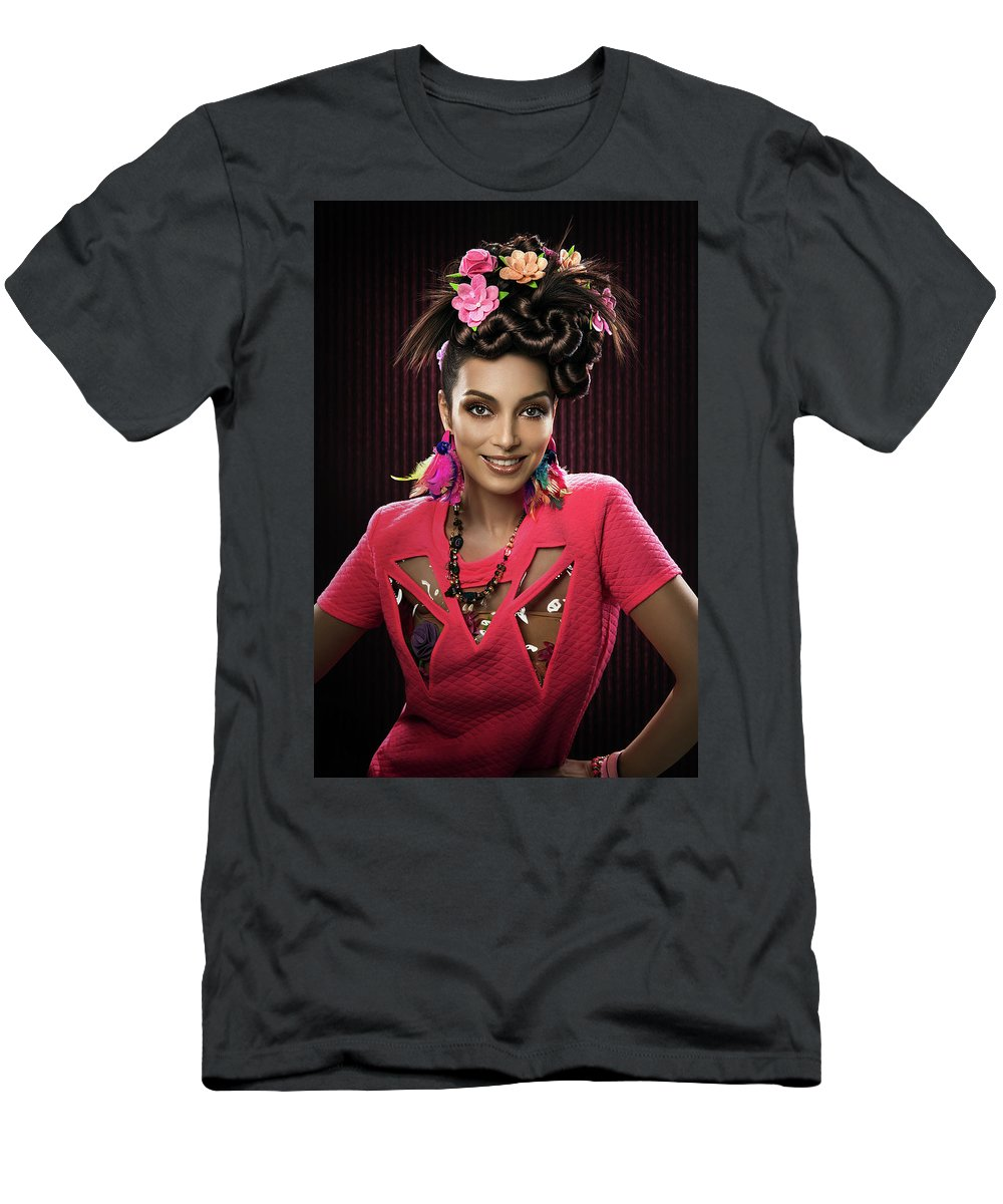 Pink Dress Men's T-Shirt (Athletic Fit) featuring the photograph Woman With Floral Headdress In Pink Dress by Erich Caparas