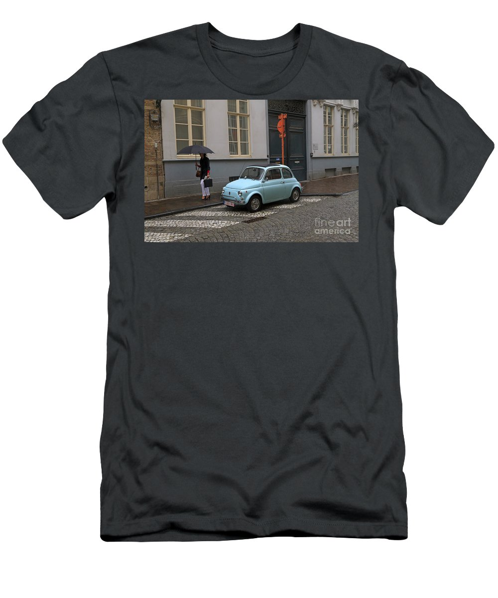 Woman Men's T-Shirt (Athletic Fit) featuring the photograph Woman With Umbrella by Louise Heusinkveld