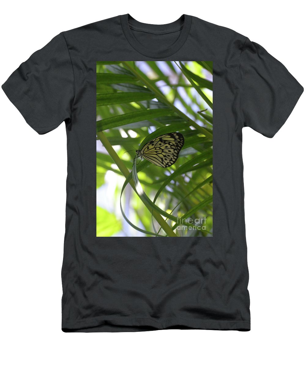 Tree-nymph Men's T-Shirt (Athletic Fit) featuring the photograph Wonderful Look At A Tree Nymph Butterfly In Foliage by DejaVu Designs