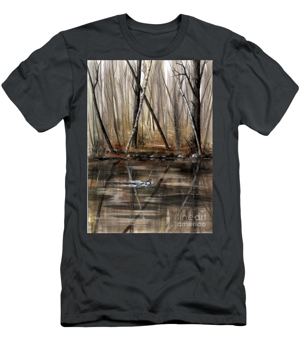 Nature Men's T-Shirt (Athletic Fit) featuring the painting Wood Duck On Pond by Mary Tuomi