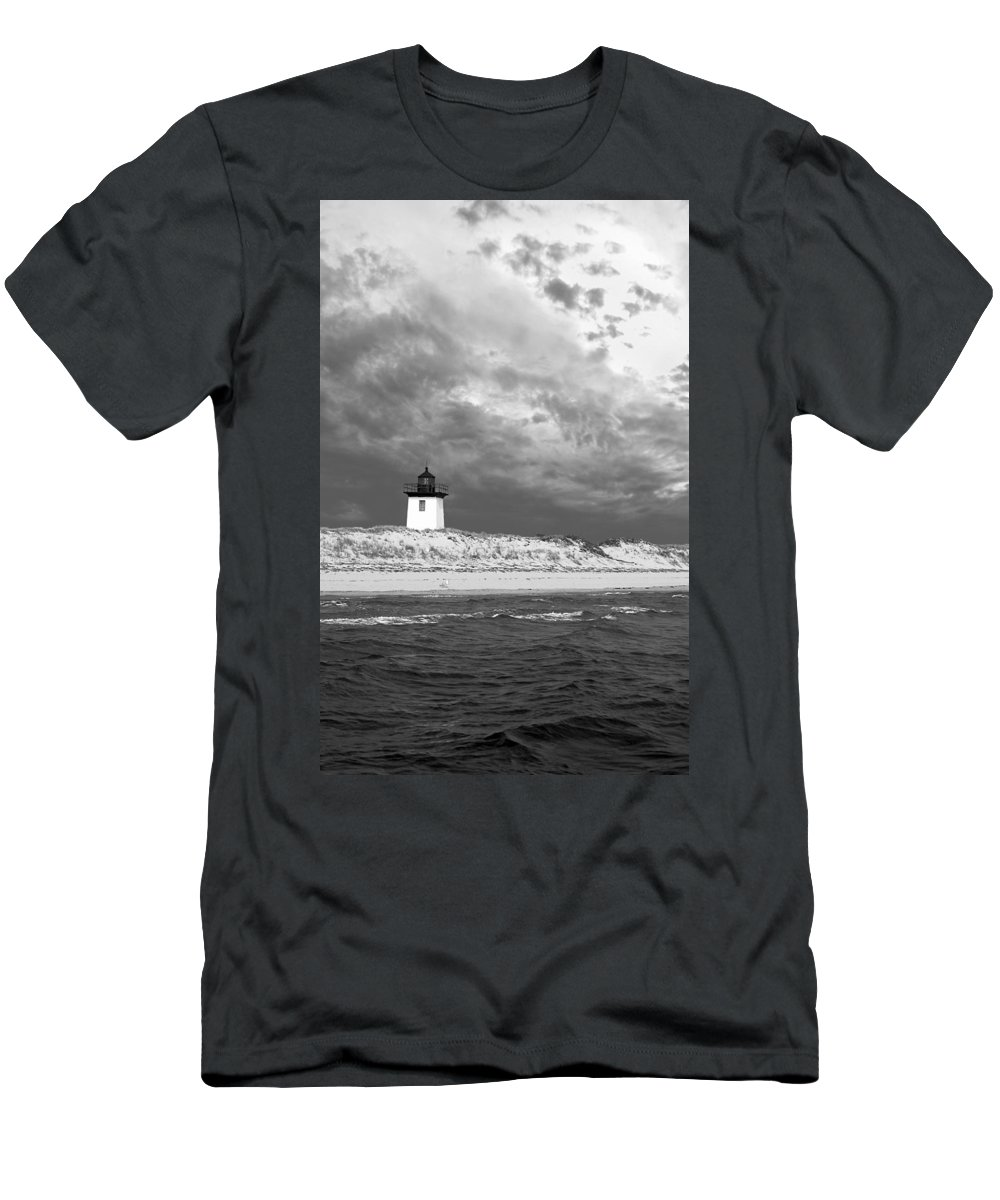 Provincetown Men's T-Shirt (Athletic Fit) featuring the photograph Wood End Lighthouse Provincetown by Charles Harden