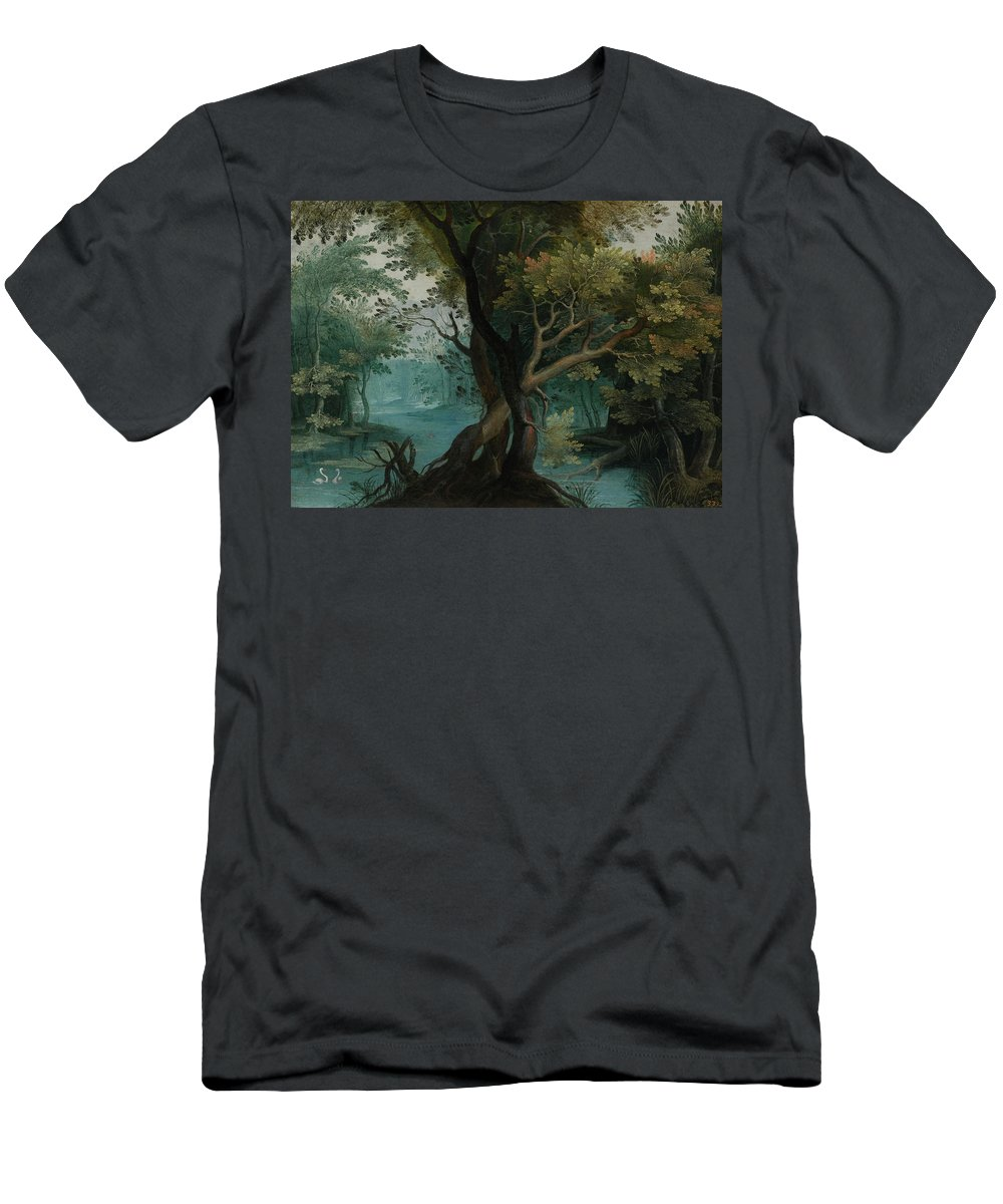 Antwerp School T-Shirt featuring the painting Wooded River Landscape with Two Geese in the Foreground by MotionAge Designs