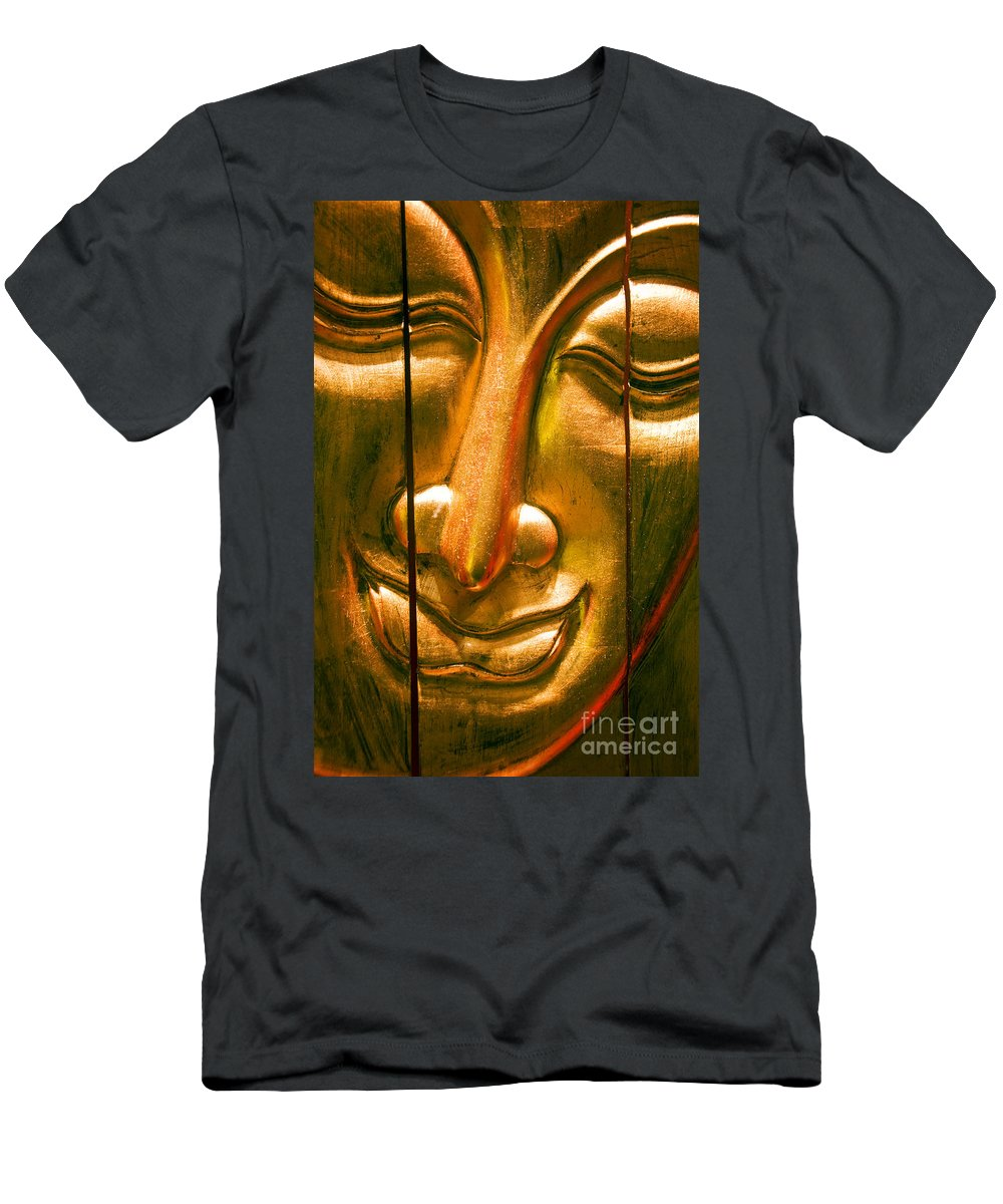 Ancient Men's T-Shirt (Athletic Fit) featuring the photograph Wooden Buddha Face by Ray Laskowitz - Printscapes