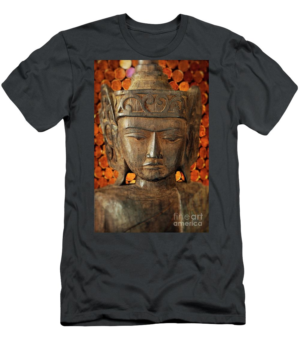 Asian Men's T-Shirt (Athletic Fit) featuring the photograph Wooden Buddha by John Greim