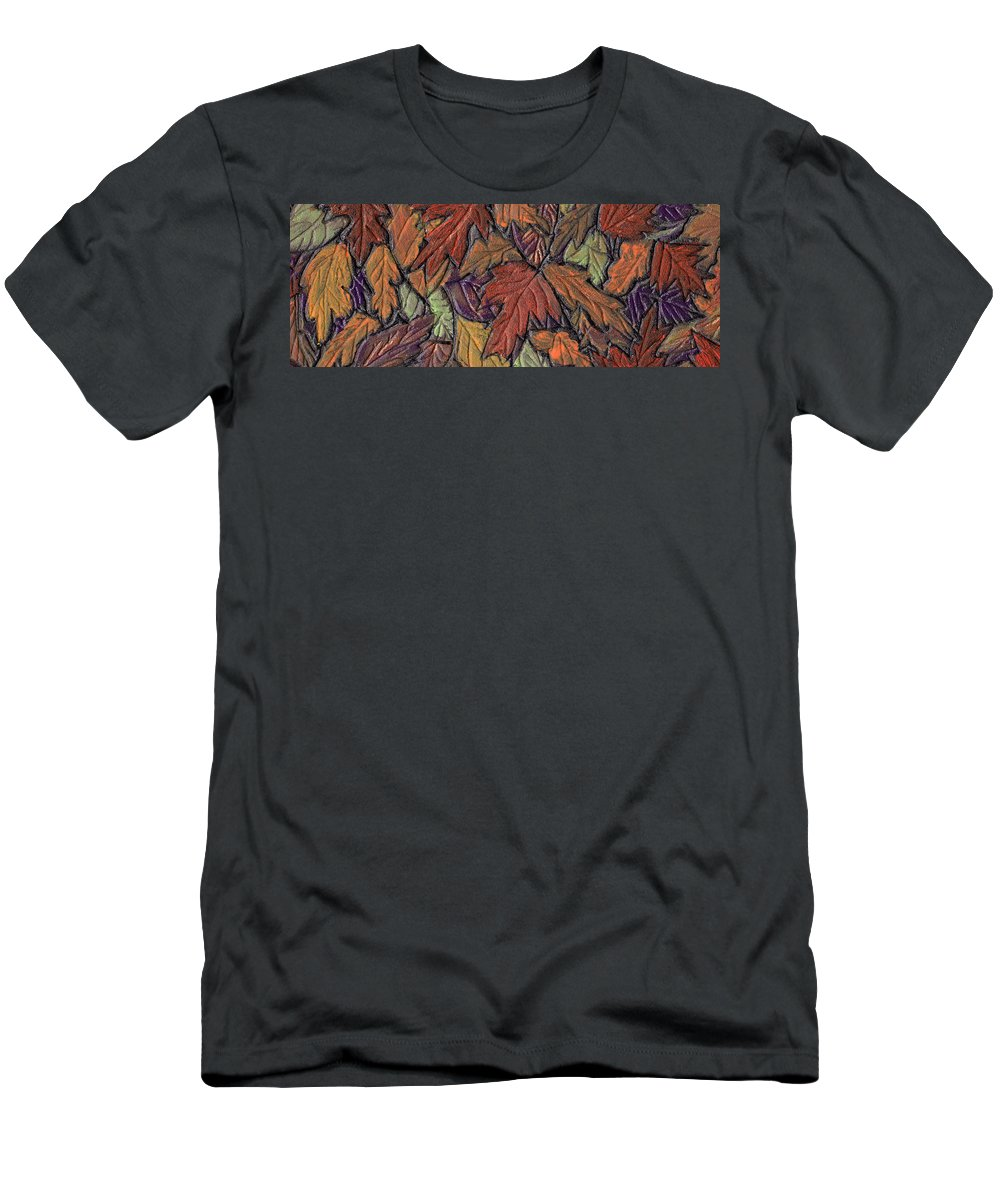 Autumn Men's T-Shirt (Athletic Fit) featuring the painting Woodland Carpet by Wayne Potrafka