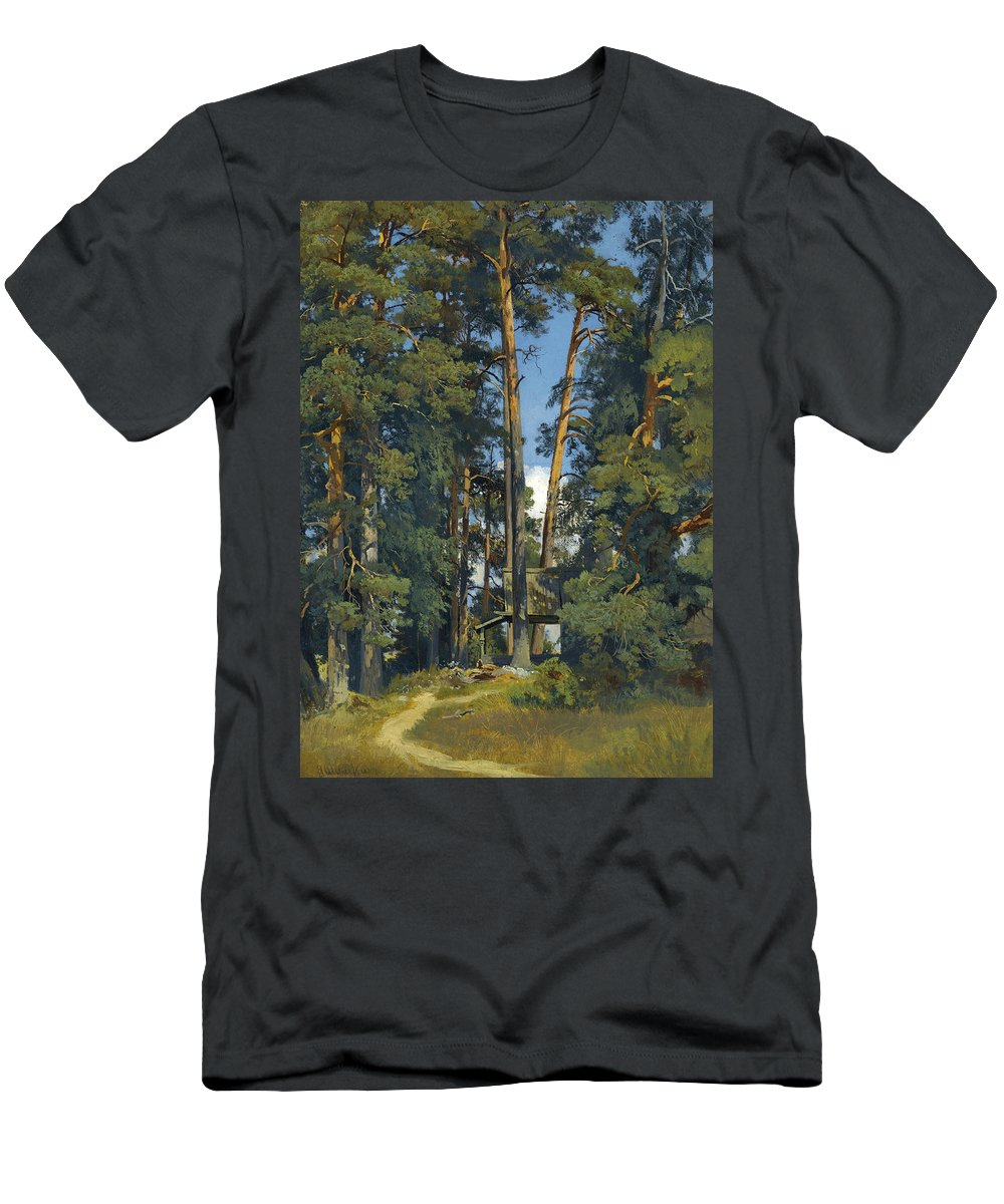 Ivan Shishkin Men's T-Shirt (Athletic Fit) featuring the painting Woodland Grove by Ivan Shishkin