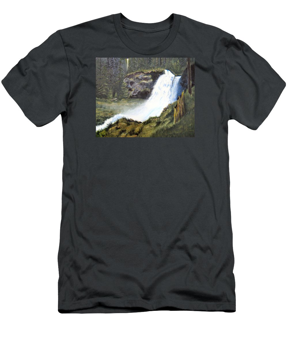 Forest Men's T-Shirt (Athletic Fit) featuring the painting Woodland Respite by Karen Stark