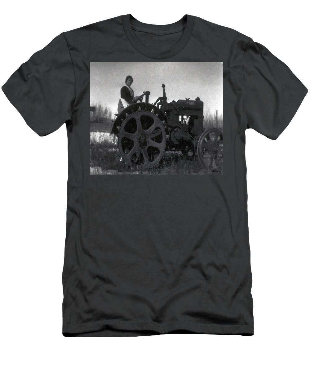 Old Photo Black And White Classic Saskatchewan Pioneers History Tractor Farming Woman Lady Men's T-Shirt (Athletic Fit) featuring the photograph Working Woman by Andrea Lawrence
