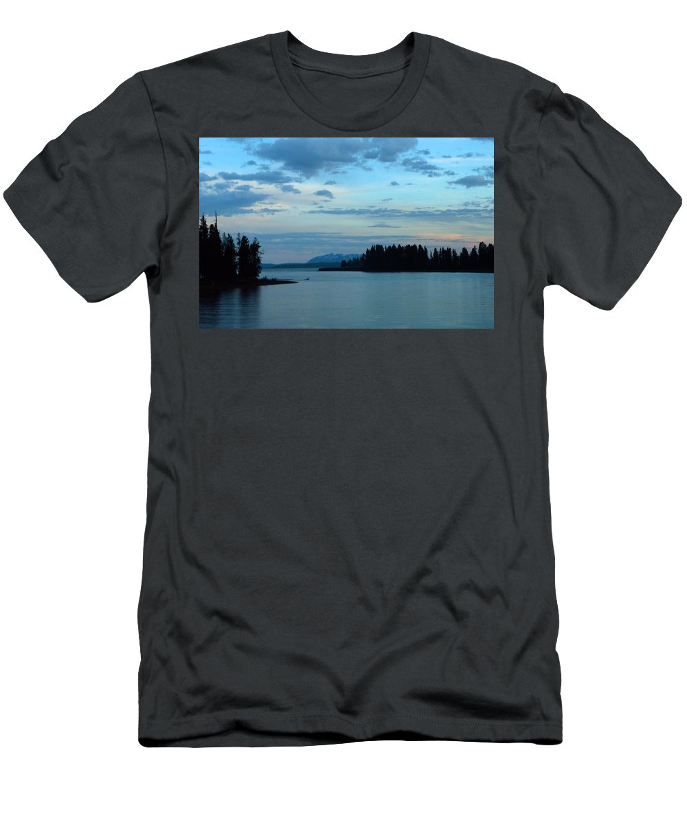 Clouds Men's T-Shirt (Athletic Fit) featuring the photograph Wyoming Sunset by Linda Kerkau