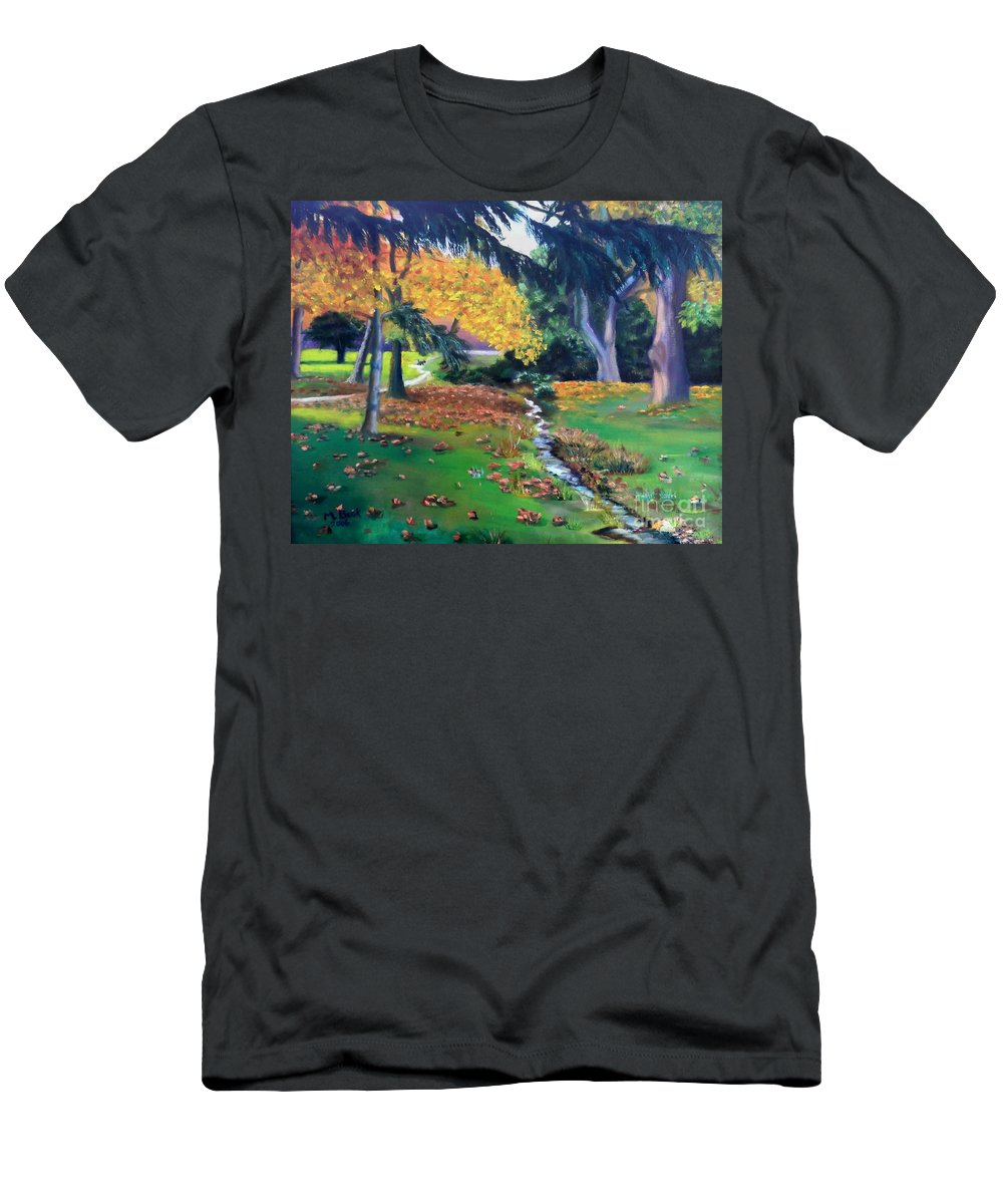 Landscape Men's T-Shirt (Athletic Fit) featuring the painting Wyomissing Creek by Marlene Book