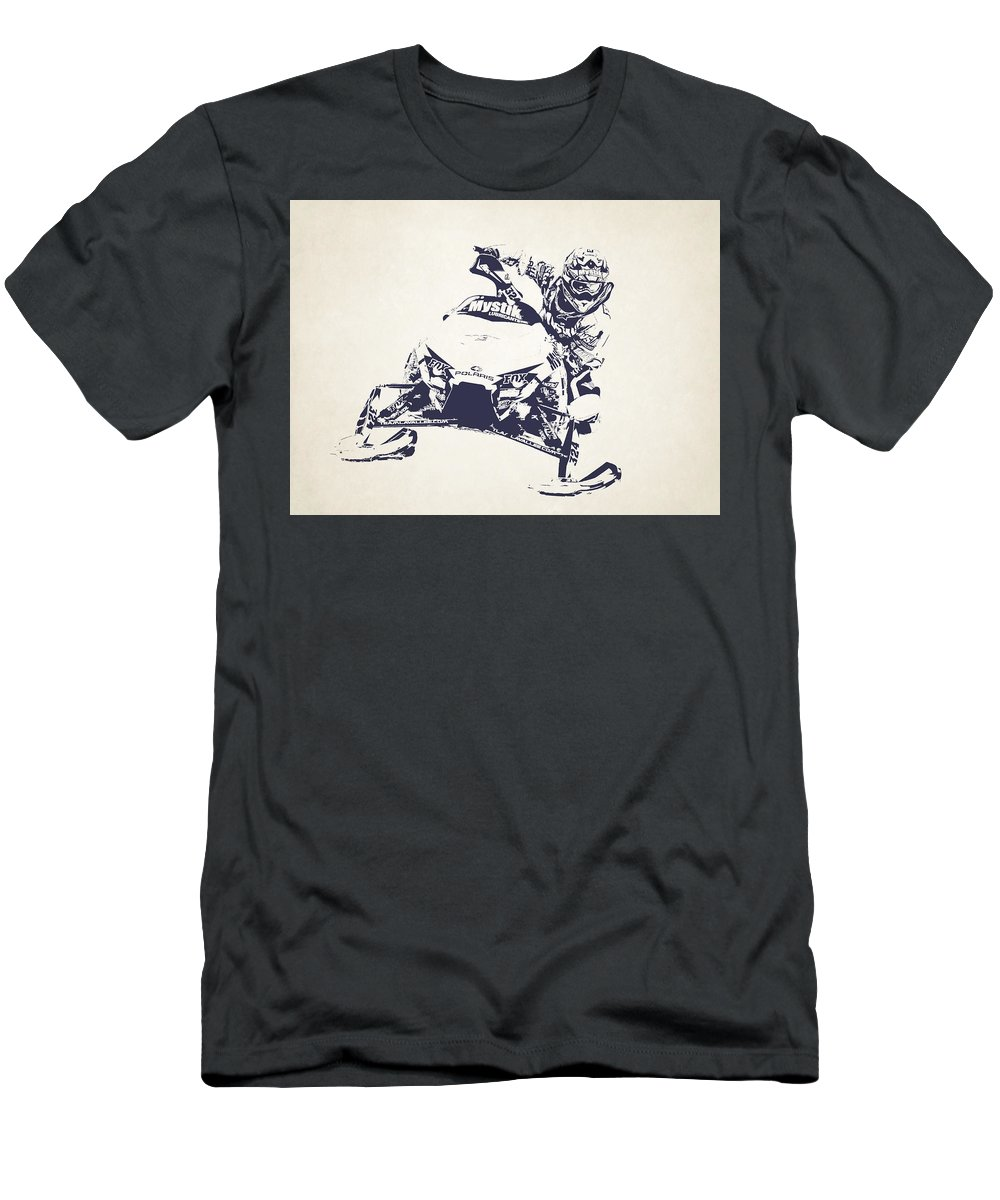 X Games Men's T-Shirt (Athletic Fit) featuring the photograph X Games Snowmobile Racing 5 by Stephanie Hamilton