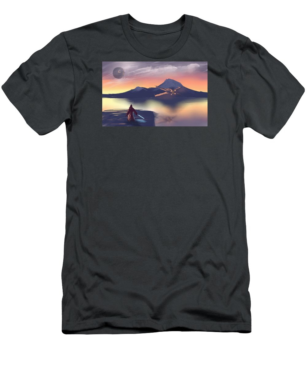 Star Wars Men's T-Shirt (Athletic Fit) featuring the digital art X-wing On The Horizon by Oliver Nelson