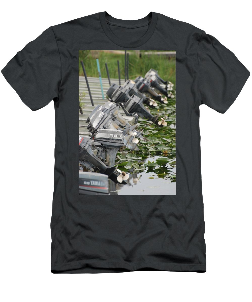 Boats Men's T-Shirt (Athletic Fit) featuring the photograph Yamaha Outboards by Rob Hans