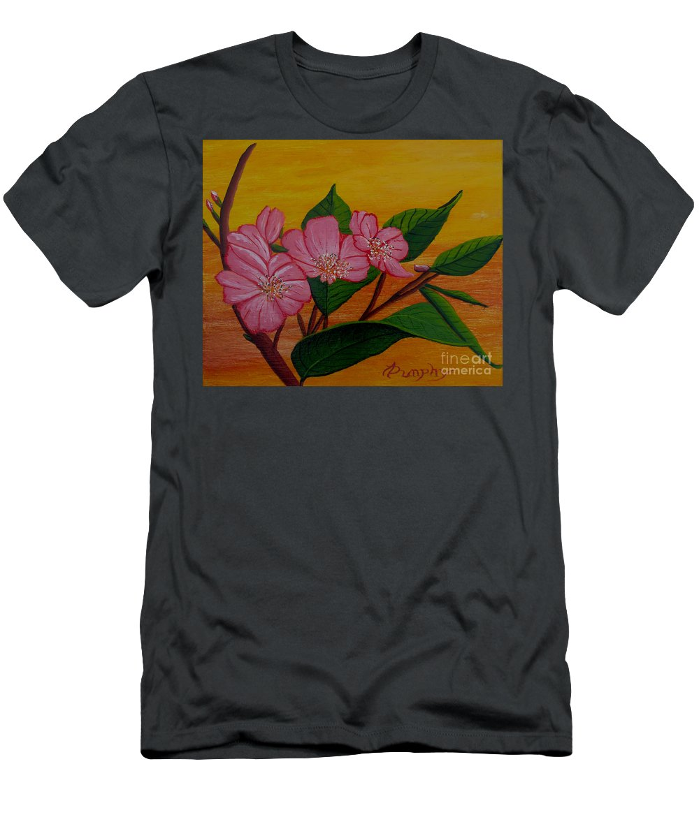 Yamazakura Men's T-Shirt (Athletic Fit) featuring the painting Yamazakura Or Cherry Blossom by Anthony Dunphy