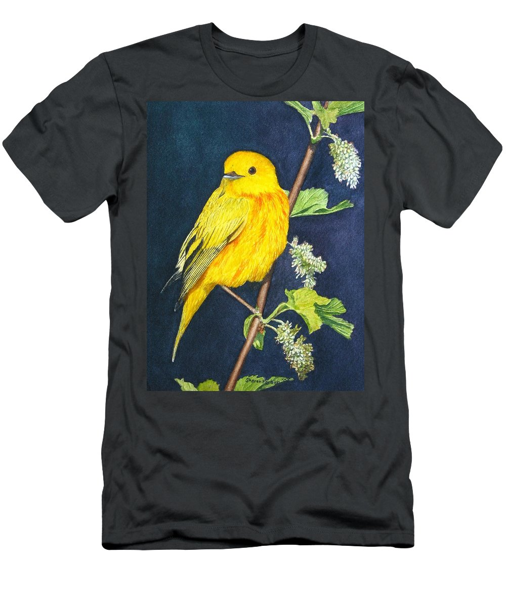 Bird Men's T-Shirt (Athletic Fit) featuring the painting Yelllow Warbler by Sharon Farber