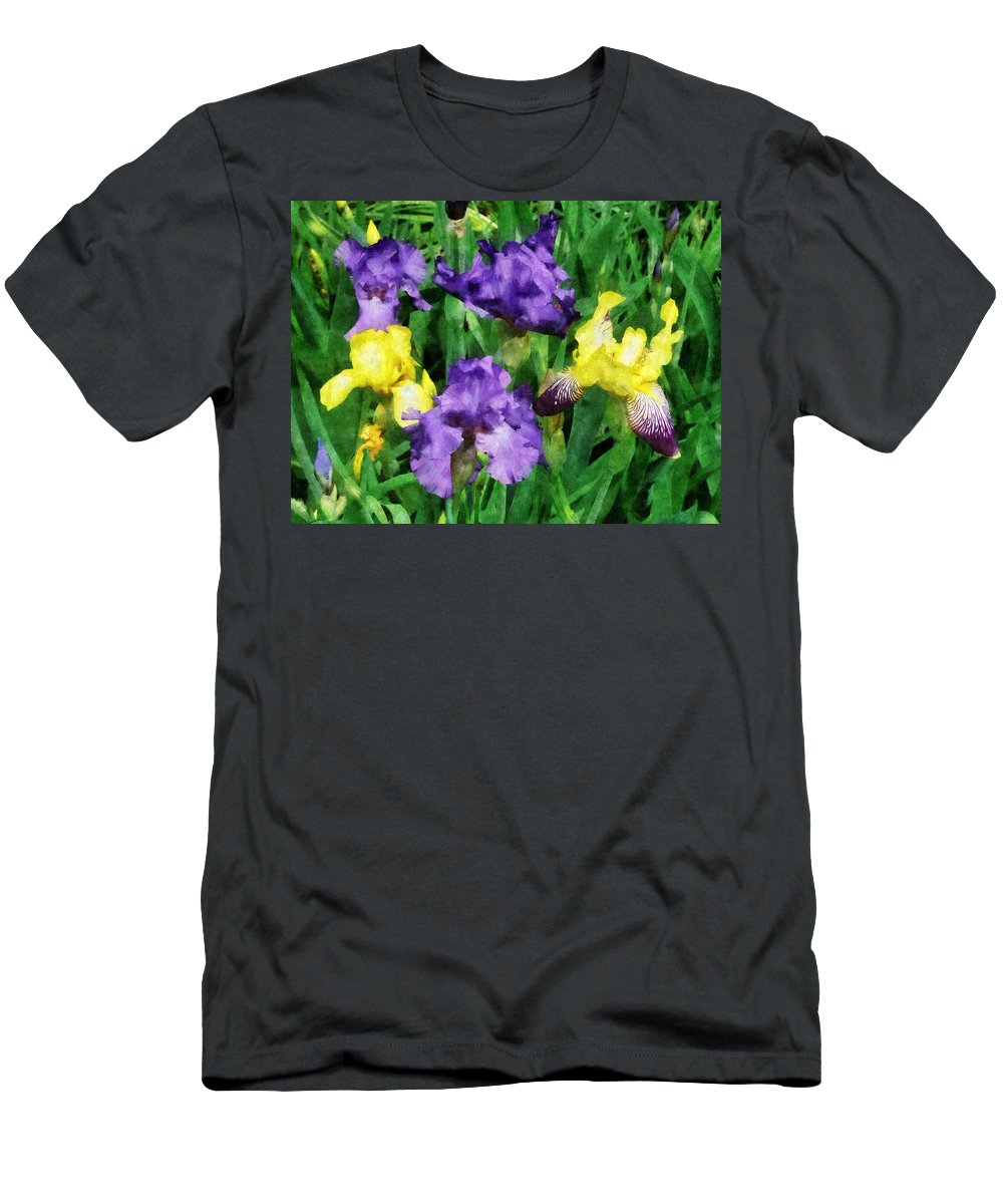 Iris Men's T-Shirt (Athletic Fit) featuring the photograph Yellow And Purple Irises by Susan Savad