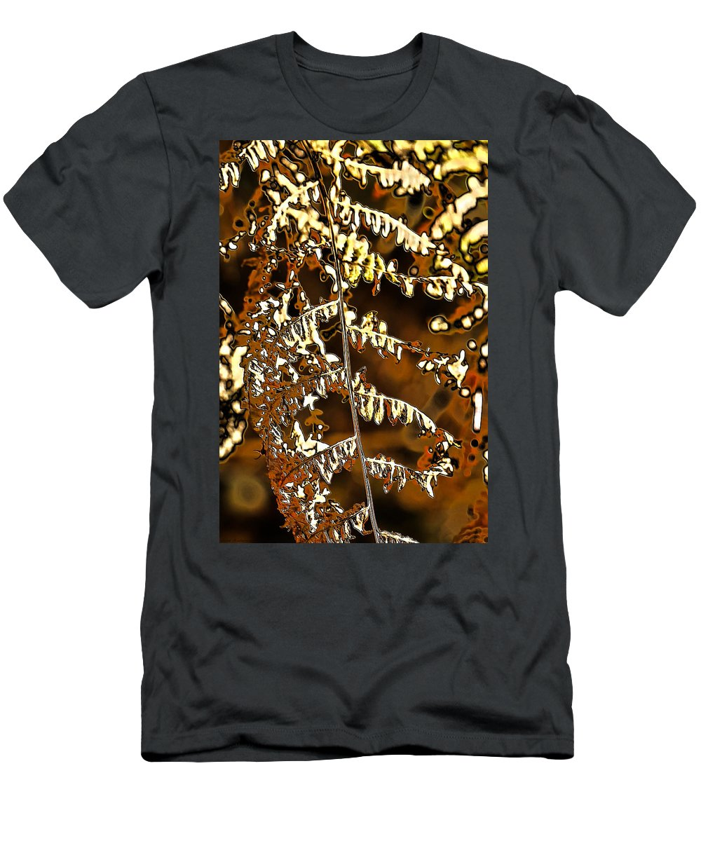 Autumn Men's T-Shirt (Athletic Fit) featuring the photograph Yellow Autumn Leaves Fern by Guna Andersone