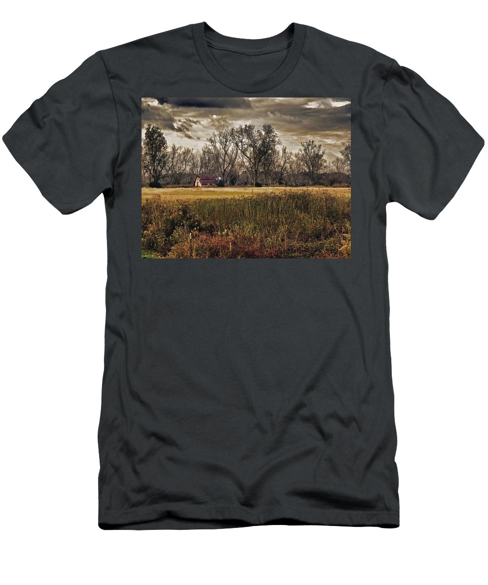Fairhope Men's T-Shirt (Athletic Fit) featuring the digital art Yellow Barn And The Field by Michael Thomas