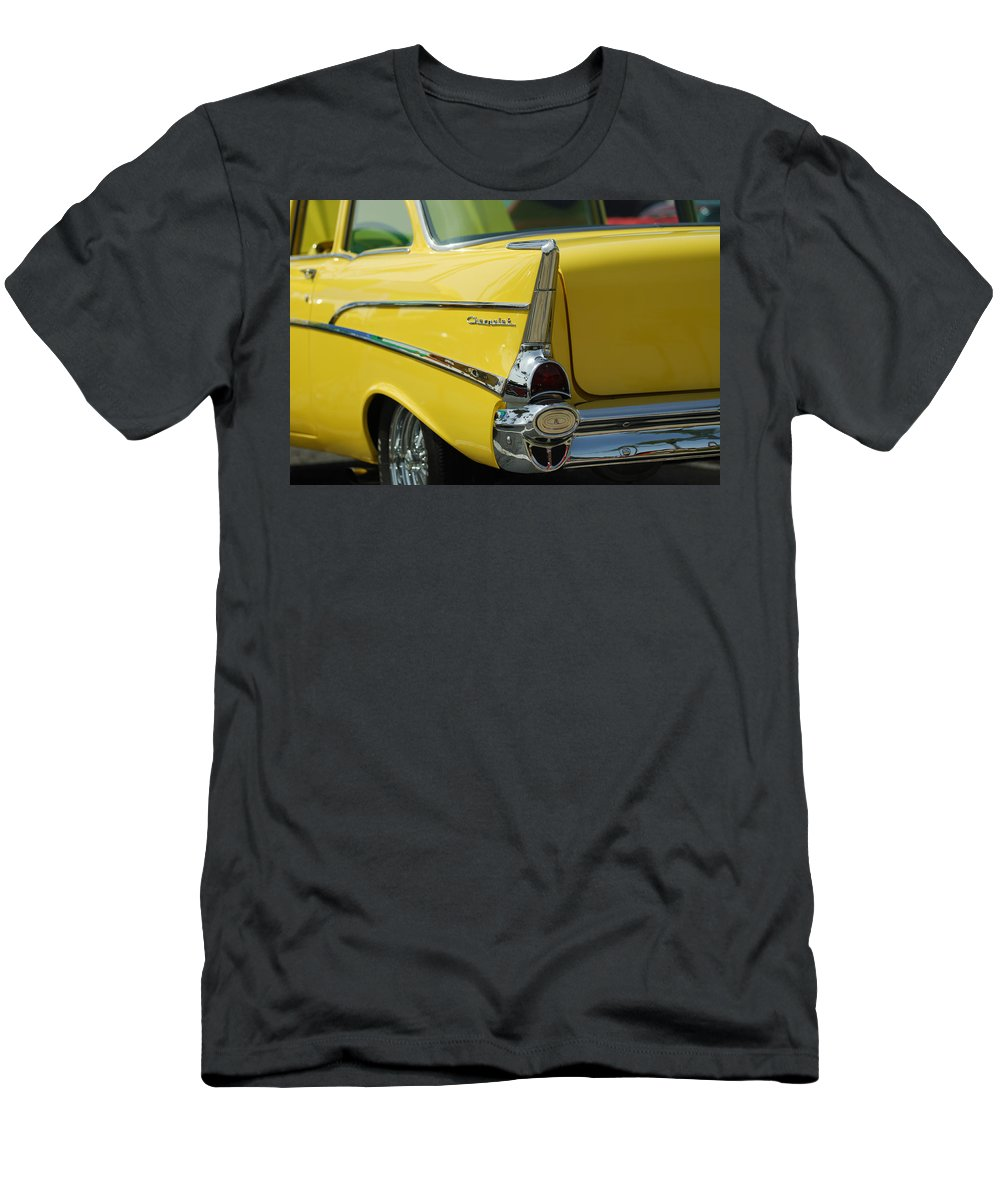 Car Men's T-Shirt (Athletic Fit) featuring the photograph Yellow Chevrolet Tail Fin by Jill Reger