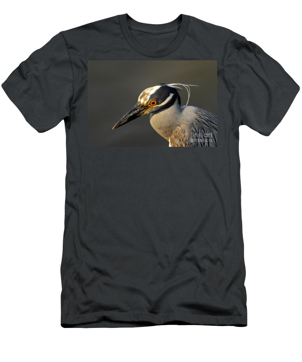 Yellow Crowned Night Heron Men's T-Shirt (Athletic Fit) featuring the photograph Yellow Crowned Night Heron by David Lee Thompson