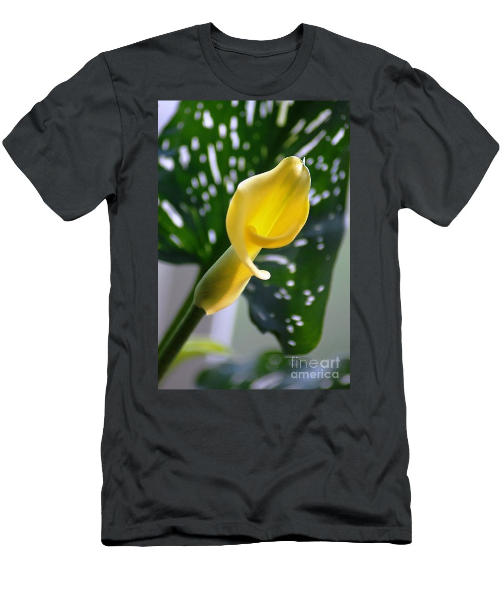 Yellow Calla Lily Men's T-Shirt (Athletic Fit) featuring the photograph Yellow Mini Calla Lilies by Donna Bentley