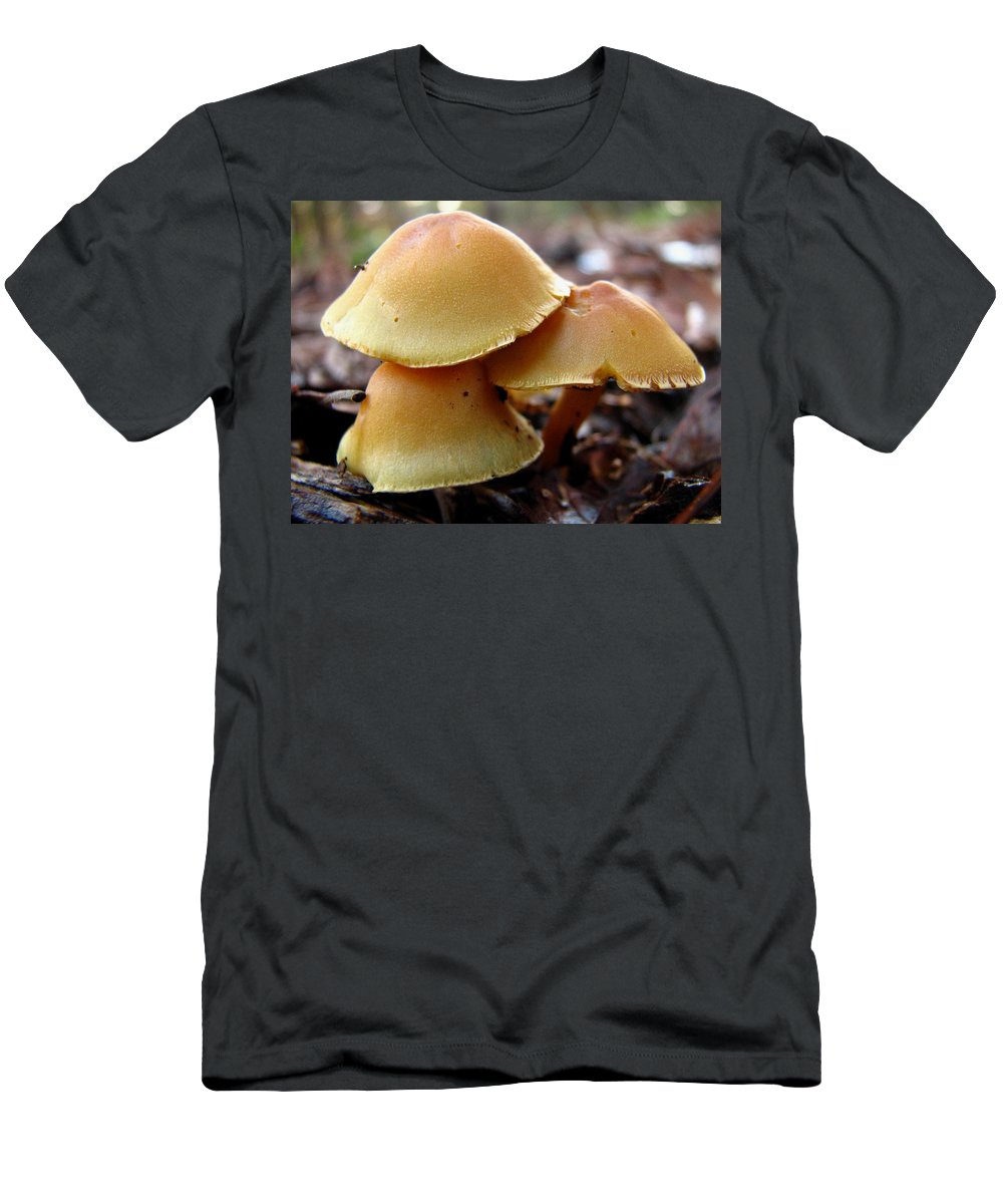 Mushroom Men's T-Shirt (Athletic Fit) featuring the photograph Yellow Mushrooms 2 by J M Farris Photography