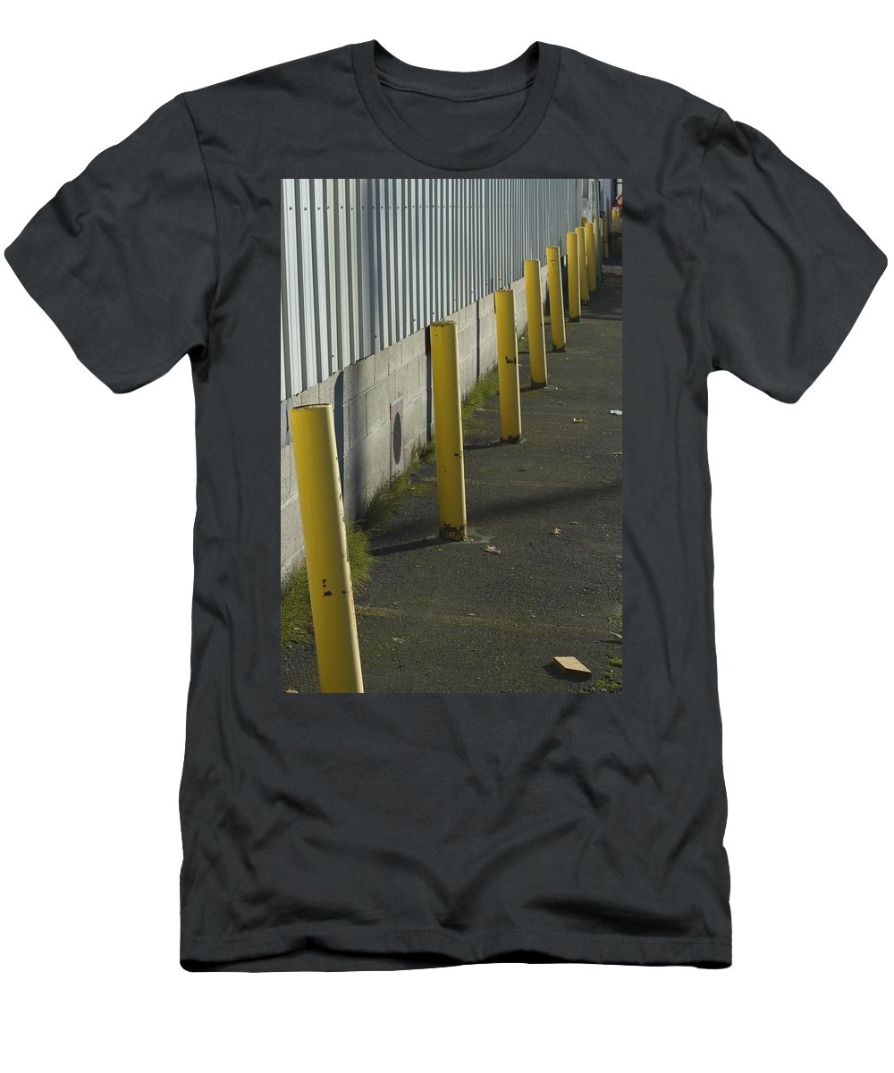 Park Men's T-Shirt (Athletic Fit) featuring the photograph Yellow Posts by Sara Stevenson