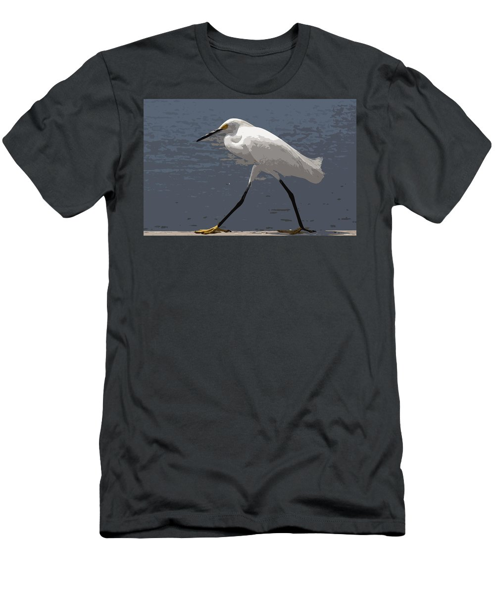 Bird Men's T-Shirt (Athletic Fit) featuring the painting Yellowfeet by Allan Hughes