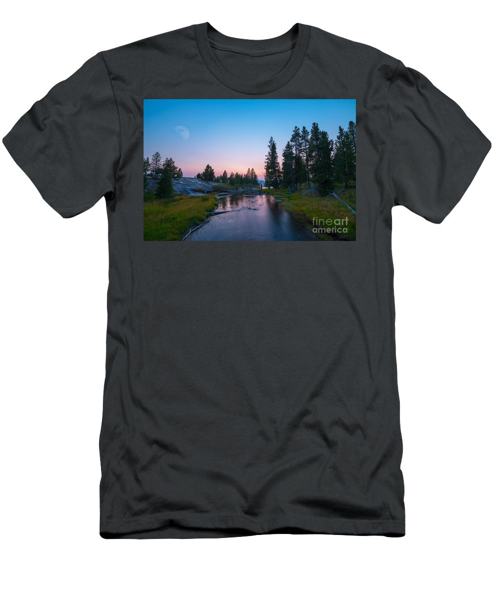 Yellowstone National Park Men's T-Shirt (Athletic Fit) featuring the photograph Yellowstone National Park Sunset And Moon by Michael Ver Sprill