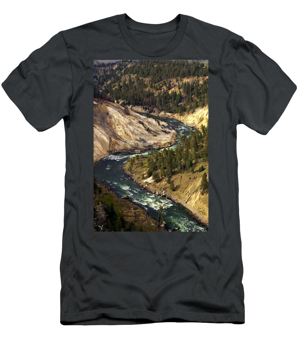 Yellowstone National Park Men's T-Shirt (Athletic Fit) featuring the photograph Yellowstone River Canyon by Marty Koch