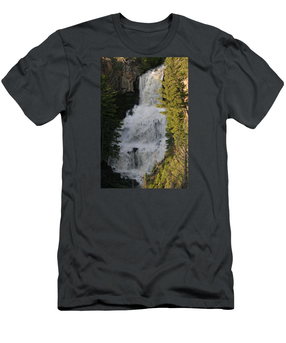Waterfall Men's T-Shirt (Athletic Fit) featuring the photograph Yellowstone Waterfall by Anita Troy