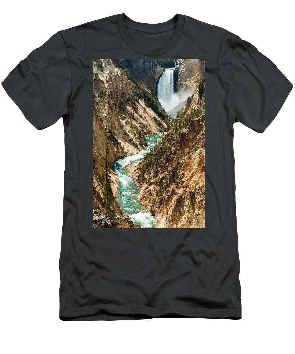 Yellowstone Men's T-Shirt (Athletic Fit) featuring the photograph Yellowstone Waterfalls by Sebastian Musial