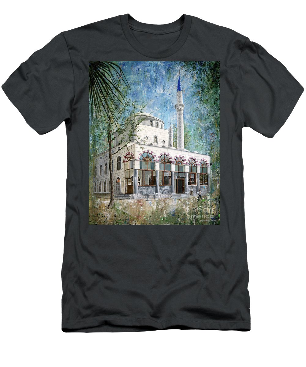 Mosque Men's T-Shirt (Athletic Fit) featuring the painting Yeni Cami, Fethiye by Carol Bostan