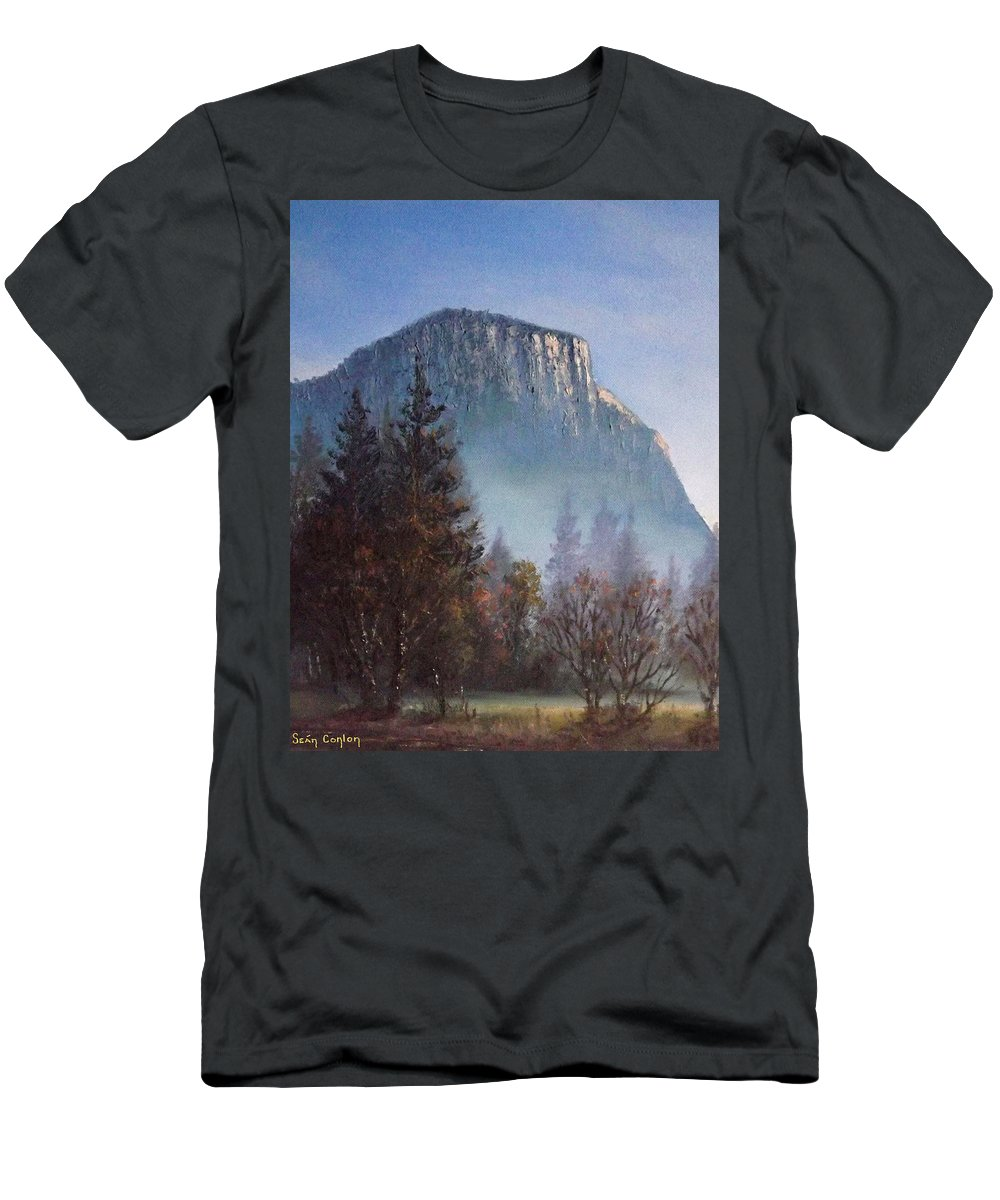 Yosemite Men's T-Shirt (Athletic Fit) featuring the painting Yosemite Dawn Detail by Sean Conlon
