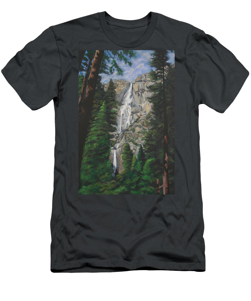 Landscape Men's T-Shirt (Athletic Fit) featuring the painting Yosemite Falls by Travis Day