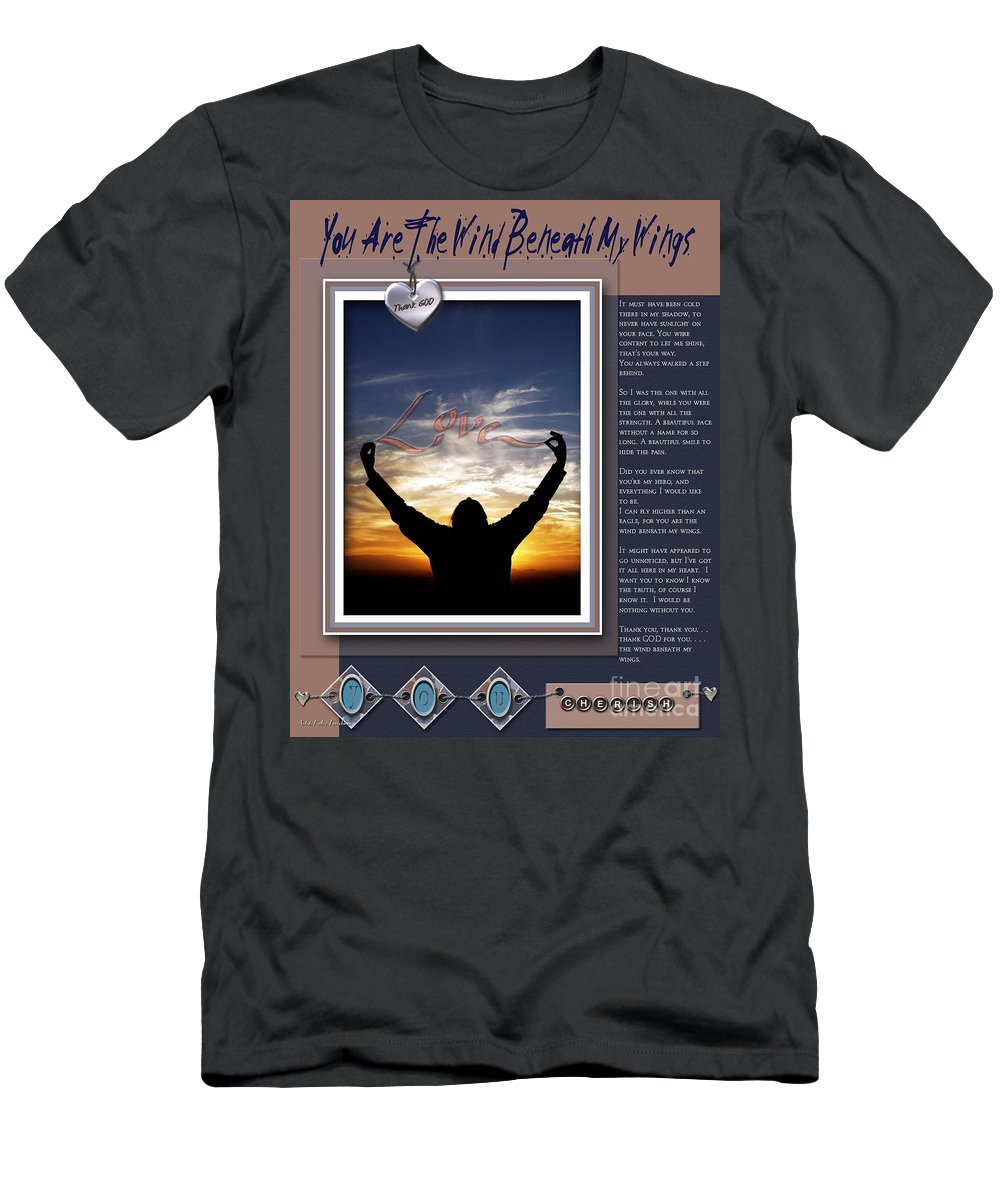 Wind Beneath My Wings Men's T-Shirt (Athletic Fit) featuring the digital art You Are The Wind Beneath My Wings by Kathy Tarochione