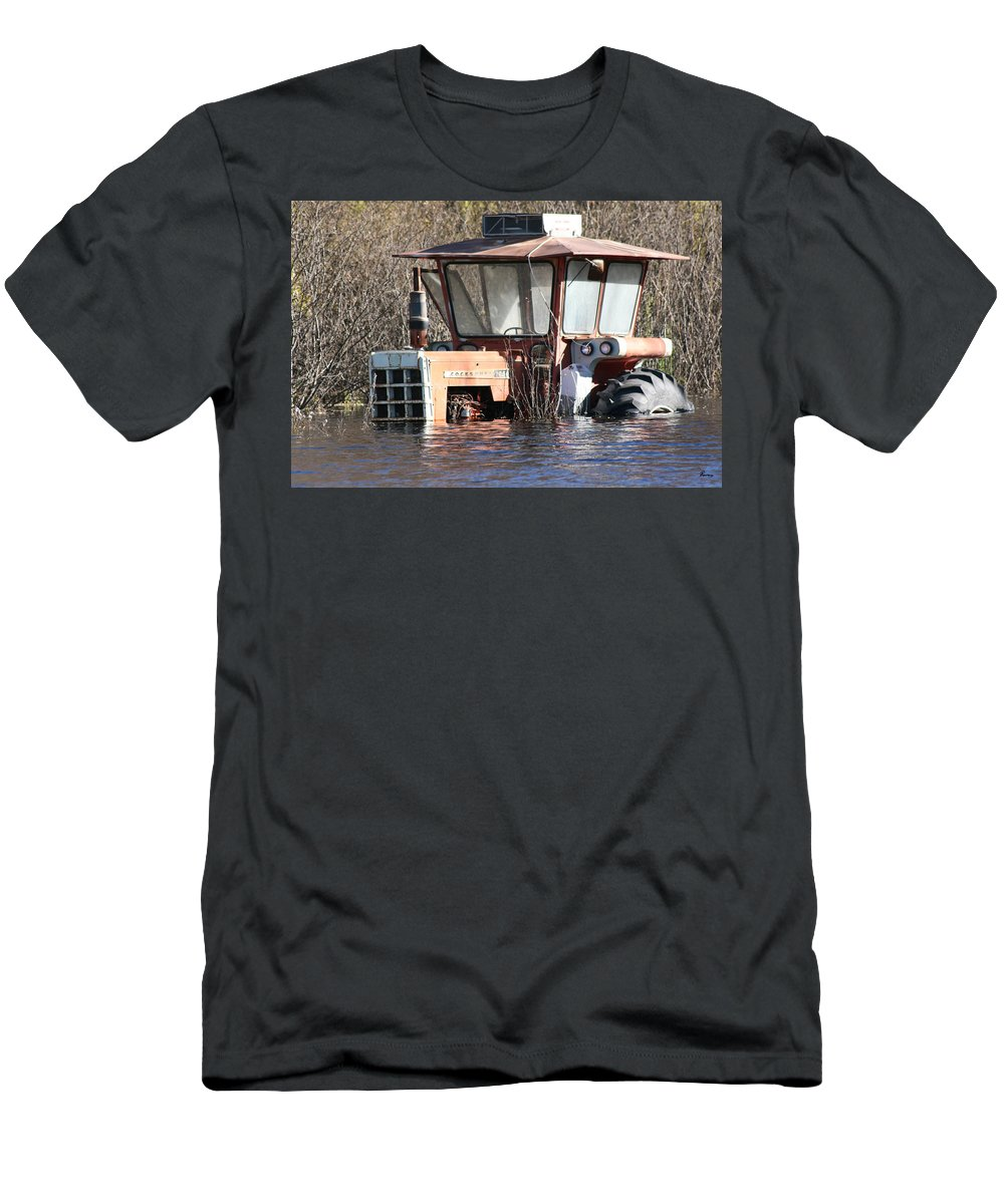 Flood Regina Sk Canada Flooding Flooded Farm Tractor Trees Grass Wrecked Loss Men's T-Shirt (Athletic Fit) featuring the photograph You Go Get The Tractor by Andrea Lawrence