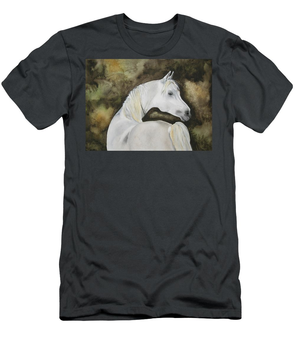Horse Men's T-Shirt (Athletic Fit) featuring the painting You Talking To Me by Jean Blackmer