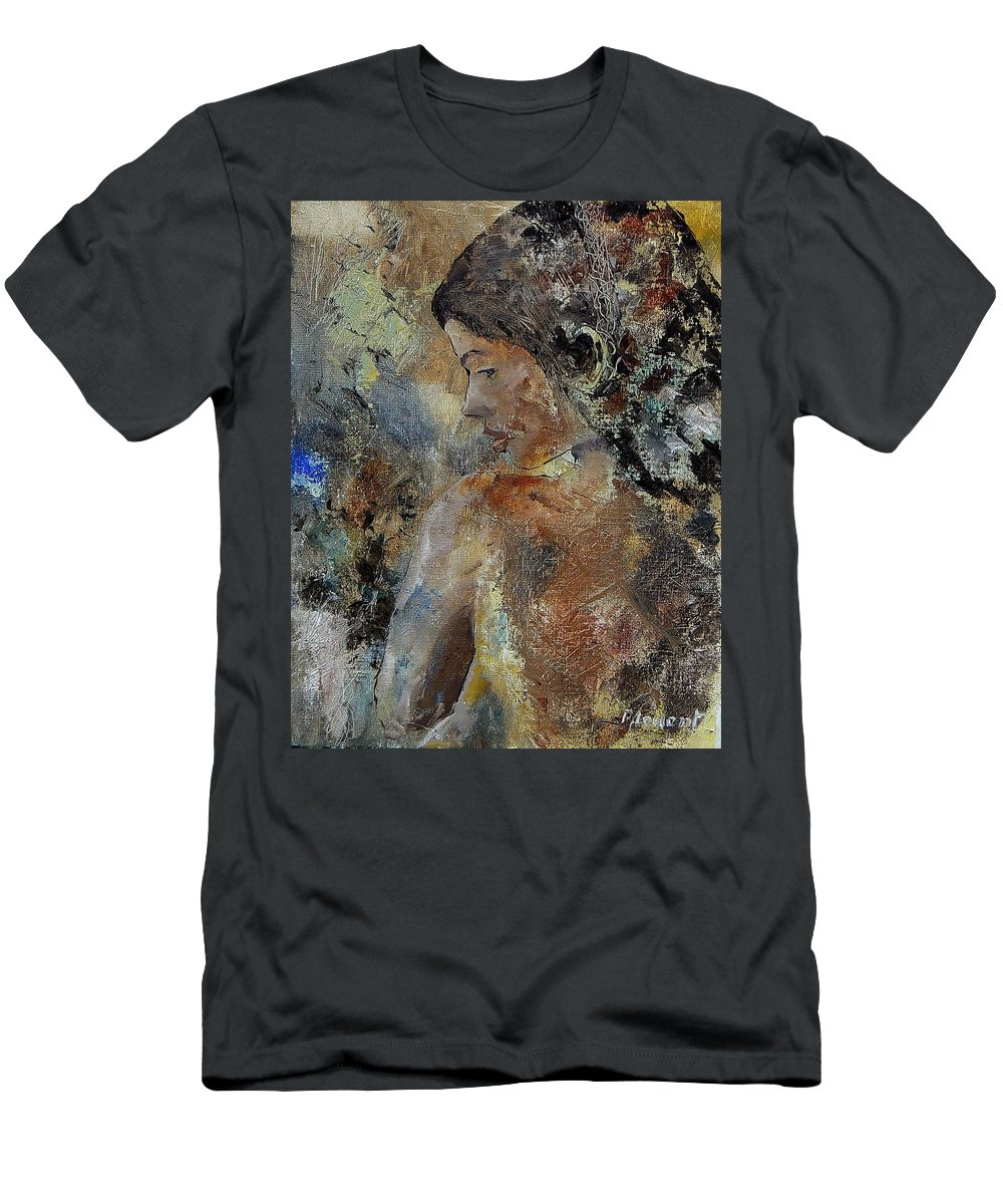 Girl Men's T-Shirt (Athletic Fit) featuring the painting Young Girl 45156987 by Pol Ledent