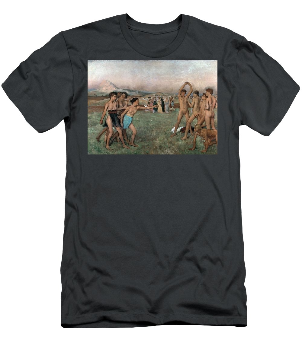 Young Spartans Exercising Men's T-Shirt (Athletic Fit) featuring the painting Young Spartans Exercising by Edgar Degas