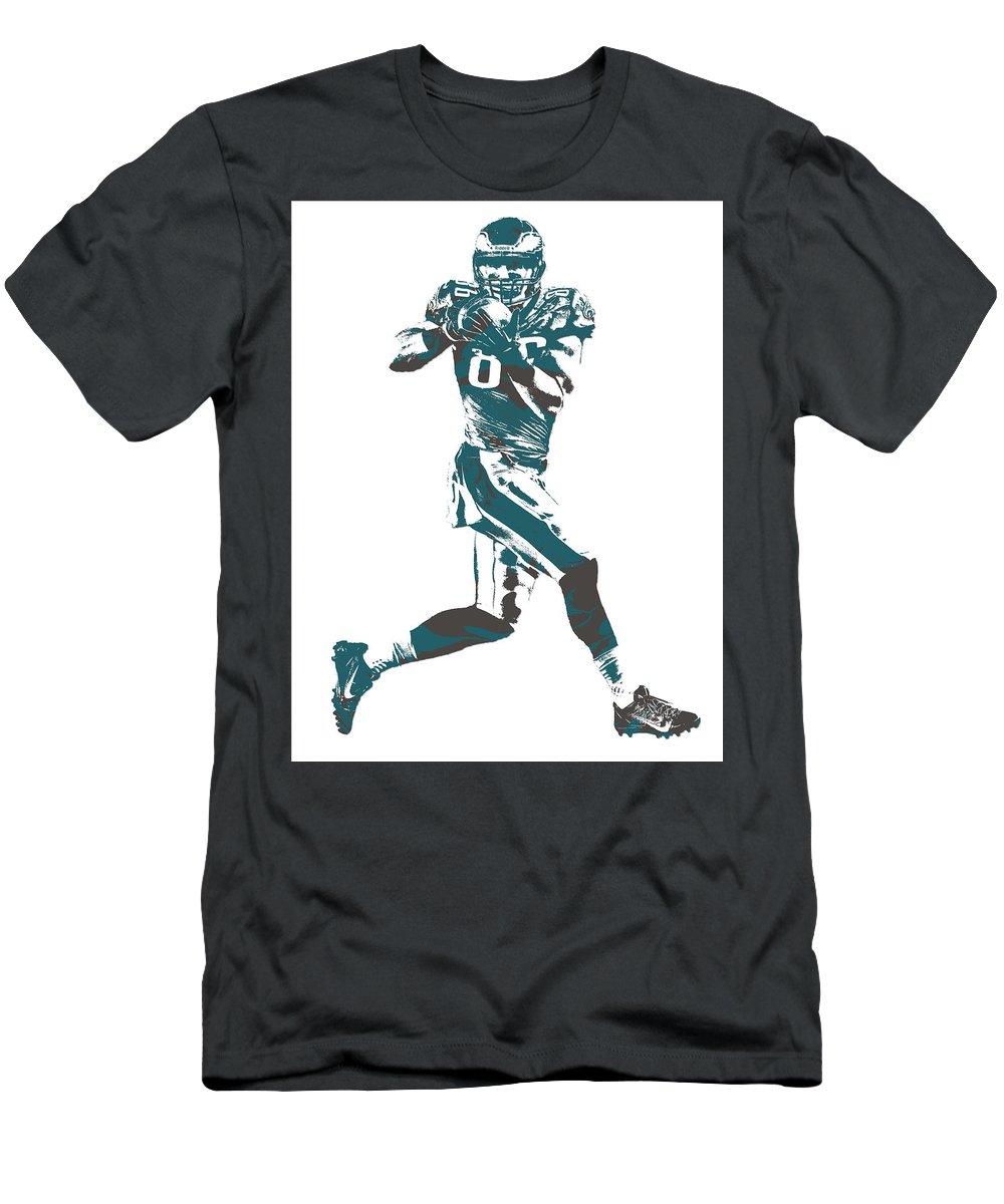 Zach Ertz Men's T-Shirt (Athletic Fit) featuring the mixed media Zach Ertz Philadelphia Eagles Pixel Art 1 by Joe Hamilton