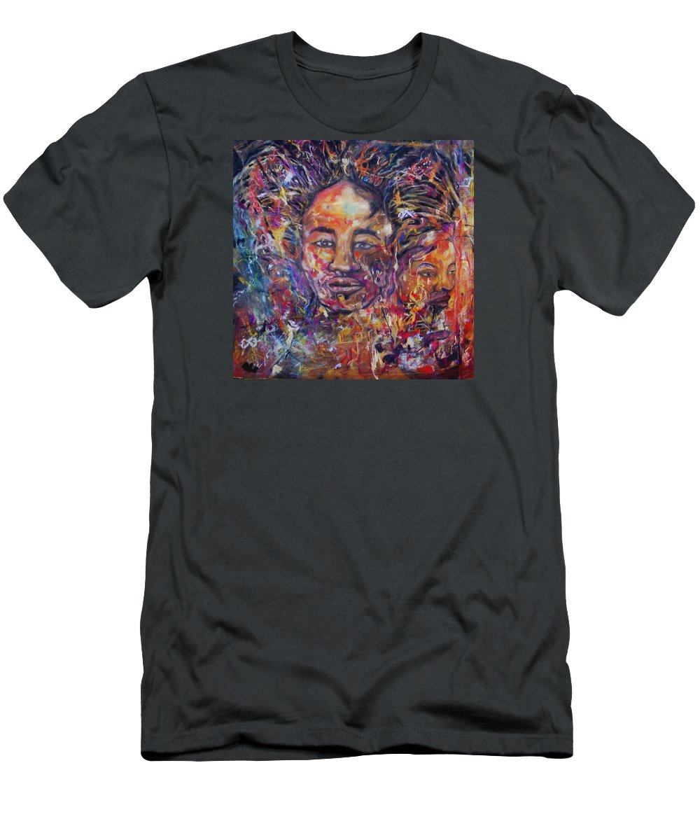Portraits Men's T-Shirt (Athletic Fit) featuring the drawing Zandi II by Arlene Rabinowitz