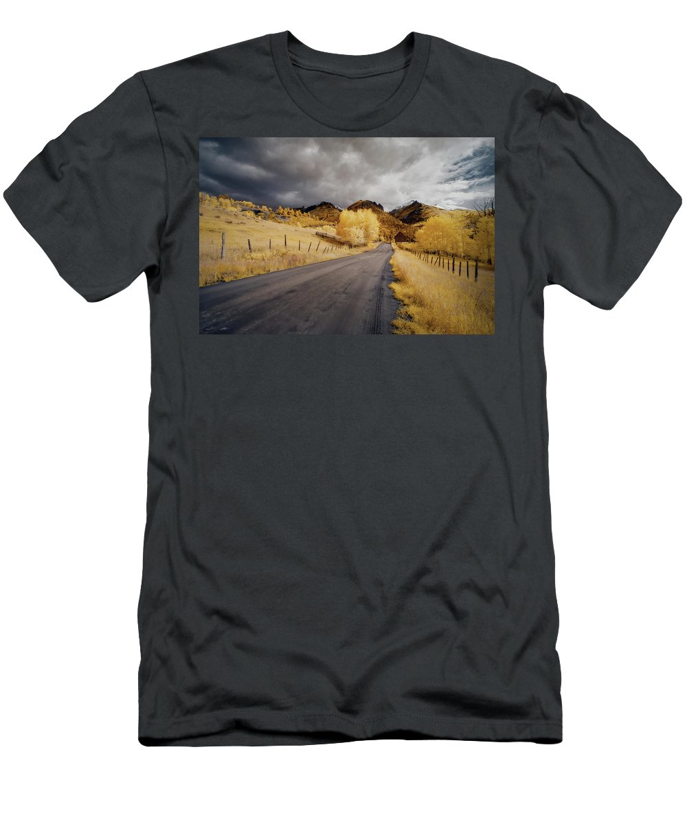 Colorado Men's T-Shirt (Athletic Fit) featuring the photograph Back Road In Colorado 1 by Jon Glaser